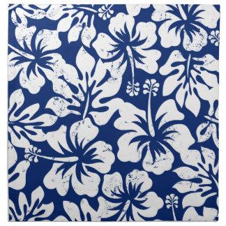 Tropical worn white hibiscus napkin
