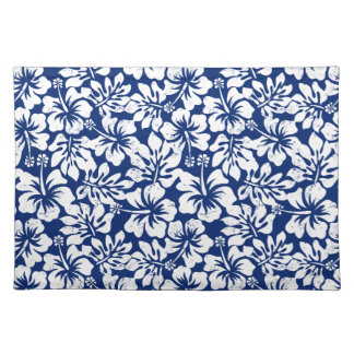 Tropical worn white hibiscus placemat