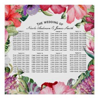 Tropical Wreath Floral Hibiscus Wedding Seating Poster