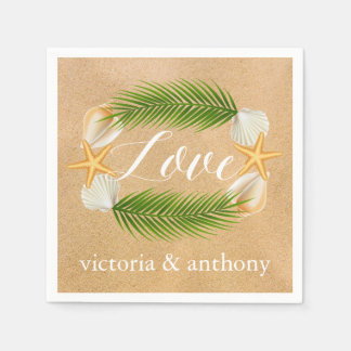 Tropical Wreath Sandy Beach Wedding Disposable Napkins