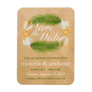 Tropical Wreath Sandy Beach Wedding Save The Date Magnet