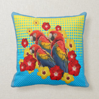TROPICAL YELLOW-BLUE  FLORAL MACAWS & RED YELLOW THROW PILLOW