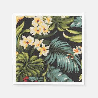 Tropical Yellow Flowers on Green and Black Disposable Napkin