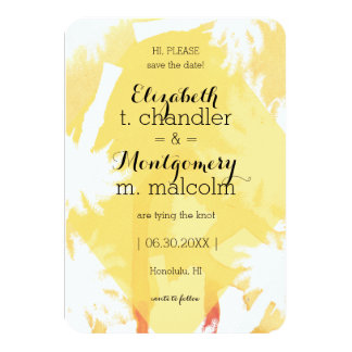 Tropical Yellow Photo Save the Dates Card