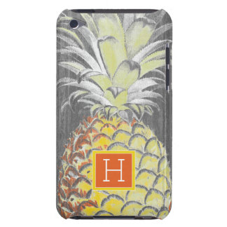 Tropical Yellow Pinneapple on Grey Barely There iPod Cover