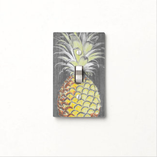 Tropical Yellow Pinneapple on Grey Light Switch Cover
