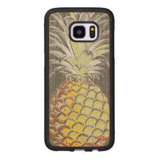 Tropical Yellow Pinneapple on Grey Wood Samsung Galaxy S7 Edge Case