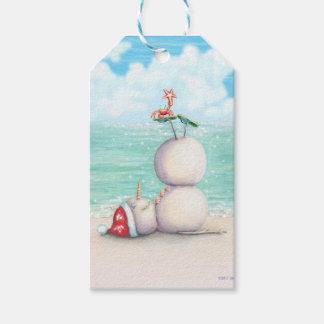Tropical Yoga Snowman on the Beach Gift Tags