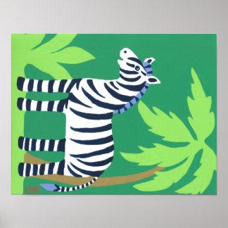 Tropical Zebra Art for Kids, Safari Sky Look Posters