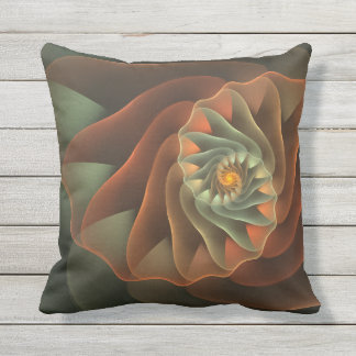 Tropicanna Orange and Green Abstract Spiral Throw Pillow