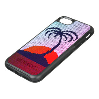 Tropics Palm Tree Silhouette Sunrise Crochet Print OtterBox Symmetry iPhone 8/7 Case