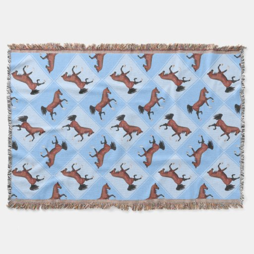 Trotting Bay Arabian Horse Equine Quilt Pattern Throw