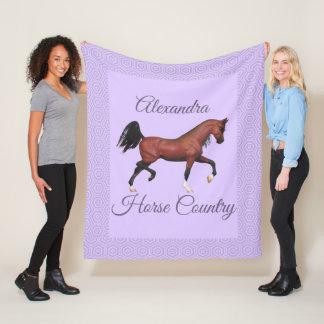 Trotting Bay Arabian Horse Purple Horse Country Fleece Blanket
