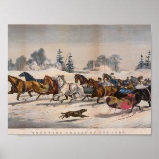 Trotting Cracks  on the Snow , Louis Maurer Poster