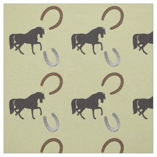 trotting horses with horse shoes fabric