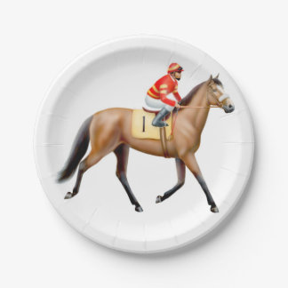 Trotting Thoroughbred Racehorse Paper Plates 7 Inch Paper Plate