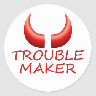 Trouble Maker and Devil Horns Round Stickers