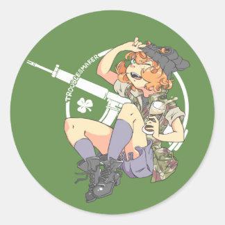 Troublesmaker Dark BG (Armalite) Round Sticker
