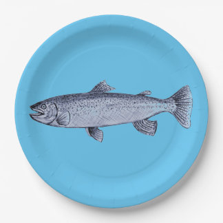 Trout Art on Paper Plates 9 Inch Paper Plate