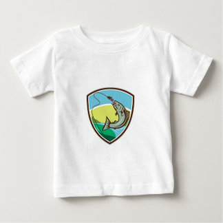 Trout Biting Hook Lure Shield Retro Baby T-Shirt