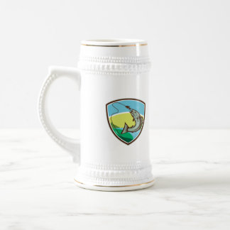 Trout Biting Hook Lure Shield Retro Beer Stein