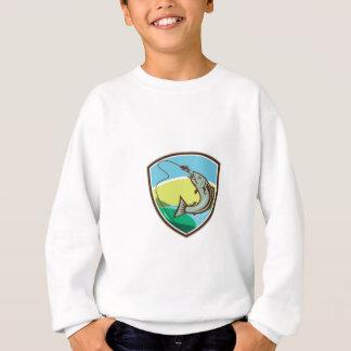 Trout Biting Hook Lure Shield Retro Sweatshirt