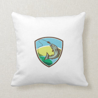 Trout Biting Hook Lure Shield Retro Throw Pillow