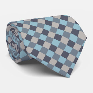 Trout Blue Gray Cotton Seed Checkerboard Tie