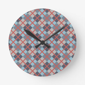 Trout Blue Gray Cotton Seed Orange Red Pattern Round Clock