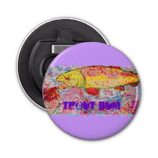 Trout Bum Button Bottle Opener