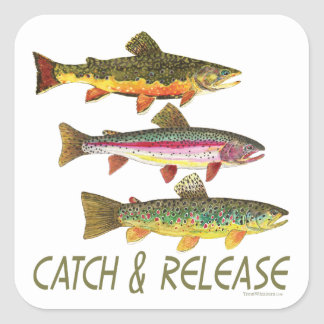 Trout Catch and Release Square Sticker