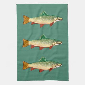 Trout fish art kitchen towel