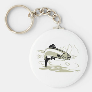 trout fish jumping key chain