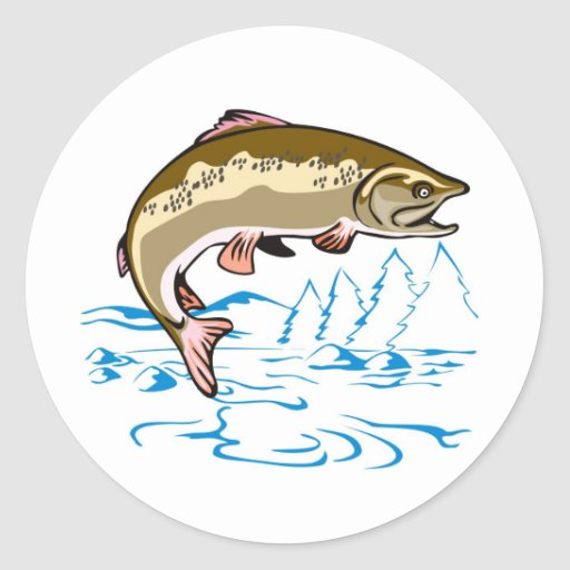 trout fish jumping lake round stickers