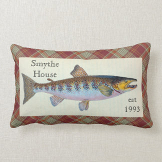 Trout Fish Red Orange Plaid Lumbar Throw Pillow