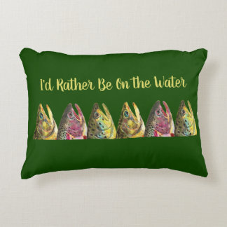 Trout Fishing Angler's Decorative Pillow