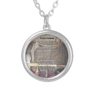 Trout Fishing Poem Silver Plated Necklace