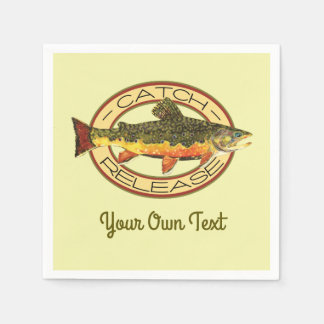 Trout Fly Fishing Party Disposable Napkins