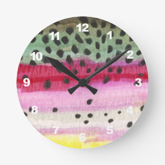 Trout Fly Fishing Round Clock