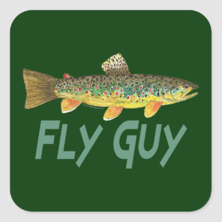 Trout Fly Fishing Square Sticker