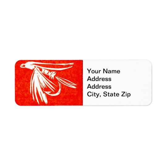 Trout Fly Return Address Label red midge wet fly.