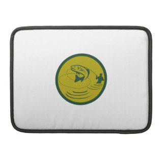 Trout Jumping Fly Fisherman Circle Retro Sleeve For MacBook Pro