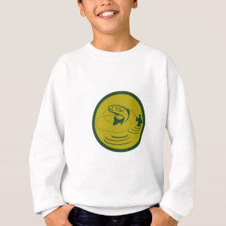 Trout Jumping Fly Fisherman Circle Retro Sweatshirt