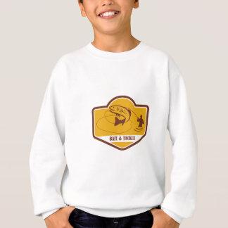 Trout Jumping Fly Fisherman Crest Retro Sweatshirt