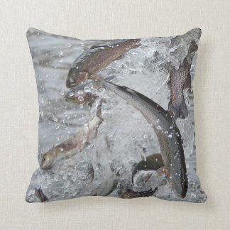 Trout Season Releasing Trout Into the Lake Throw Pillow