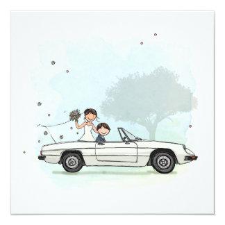 Trouwkaart bride couple in vintage Alfa Romeo Card