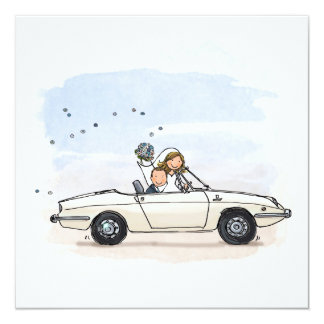 Trouwkaart bride couple in vintage Fiat 850 of the Card
