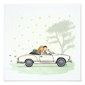 Trouwkaart bride couple in vintage Karmann Ghia Card