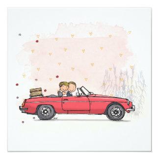 Trouwkaart bride couple in vintage MGB cabrio Card