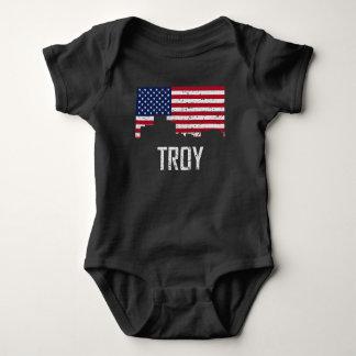 Troy Michigan Skyline American Flag Distressed Baby Bodysuit